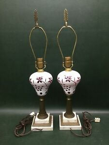 Pair Of Antique White Cut To Cranberry Overlay Glass Table Lamps