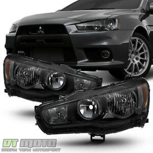 Black Smoke 2008 2017 Lancer 08 15 Evolution EVO X Halogen Headlights Headlamps $154.88