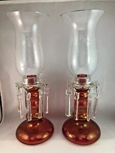 2 Hand Blown Cranberry Flashed Glass Cut To Clear Mantle Lusters Candle Holders