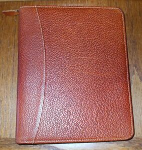 Franklin Quest Brown Pebbled Leather Zip Planner Organizer 7 Ring 8 5 X 11