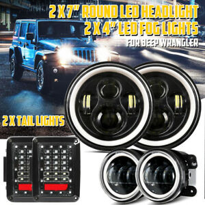 For Jeep Wrangler Jk 08 18 7 Led Headlight Fog Light Tail Lights Lamp Kit