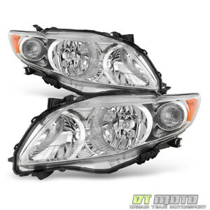 For Chrome 2009 2010 Toyota Corolla Headlights Headlamps Replacement Left right
