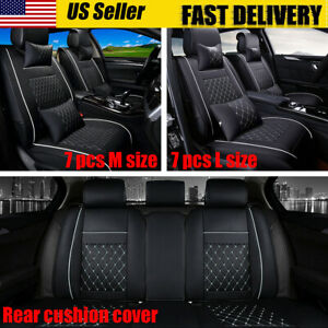 Deluxe 5 Seats Car Pu Leather Front Rear Cover Cushion Mat Pillows Universal
