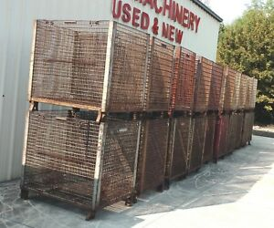 Large Industrial Steel Wire Basket Storage Stackable Container Parts Bins Wt 470