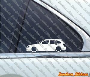 2x Lowered Car Outline Stickers For Mazda 323 Protege Hatch bj 1998 2003