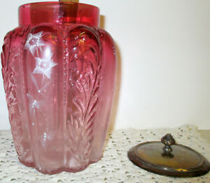 Antique Cranberry Pickle Castor Jelly Jar Compote Lid Textured Glass Enameled