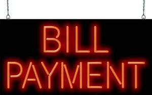 Bill Payment Neon Sign Jantec 2 Sizes Electric Cable Free Shipping