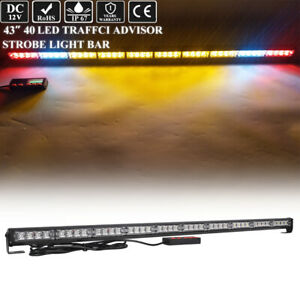 44 Inch Led Lightbar Emergency Response Strobe Amber W Cargo Brake Light 40w