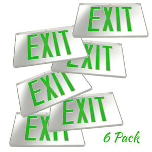 6pack Mirrored Green Led Exit Sign Indoor Emergency Fixtures Fire Lights Panel
