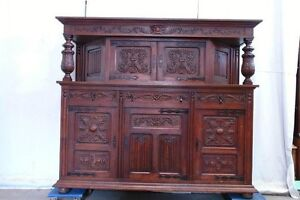 Large Antique Carved Oak Spanish Style Cabinet Buffet Sideboard