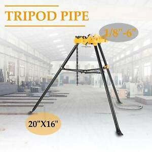 Portable 460 6 Tripod Pipe Chain Vise Stand W Large Base Overhangs Front Legs