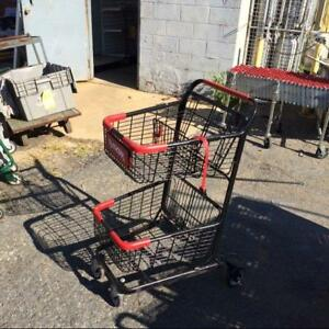 2 Tier Shopping Carts Used Metal Black Red Store Fixtures Small Basket Buggy
