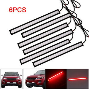 6x Pure Red Car Cob Led Bulbs Drl Fog Driving Brake Light Lamp Waterproof Dc 12v