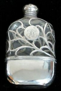Alvin Sterling Silver Overlay On Crystal 3 4 Pint Flask