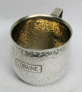 Vintage International Sterling Silver Hammered Loraine Young Child Baby S Cup