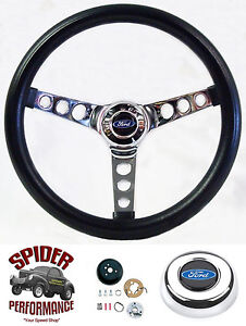1949 1956 Ford Steering Wheel Blue Oval 13 1 2 Classic Chrome