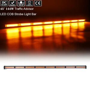45 Led Cob Traffic Adviser Emergency Warning Flash Amber Roof Strobe Light Bar