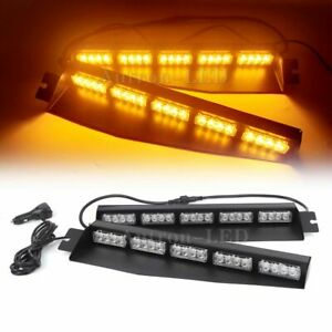 34 Inch 40w Led Warning Emergency Strobe Visor Dash Deck Split Light Bar Amber