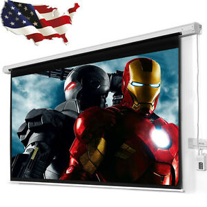 100 16 9 Electric Auto Projector Screen 80x60 Remote Control Theater Projection