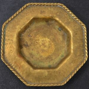 Antique Old Heavy Bronze Brass Octagonal Trinket Dish Tray Ashtray Rope Trim