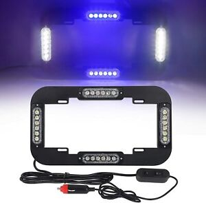Autron 13 5 24w 24 Led License Plate Lights Traffic Adviser Strobe Blue White