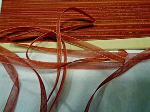 Antique Sheer Red Silk Ribbon W Gold Metallic Center Thread 1 4 By The Yd