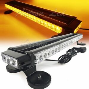 27 Led Traffic Adviser Double Side Warn Emergency Signal Amber Strobe Light Bar