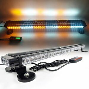 38 78w Led Traffic Adviser Emergency Signal Roof Strobe Light Bar Amber White