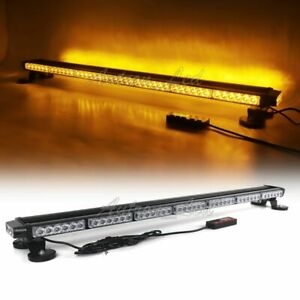 44 90w Led Traffic Adviser Emergency Beacon Flash Signal Strobe Light Bar Amber