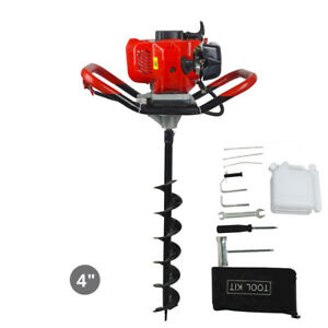 2 2hp Gas Powered Post Hole Digger W 4 Earth Auger Drill Bit 52cc Power Engine