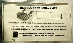 Berridge Tee panel Clips Use For Berridge Tee panel Metal Roofing Case Of 1500
