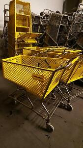 Used Shopping Carts Yellow Plastic Large Baskets Grocery Store Fixtures Lot 8 Pc