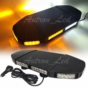 19 144w Led Amber White Warn Emergency Beacon Response Signal Strobe Light Bar