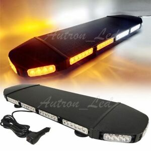 28 Led Warn Security Signal Strobe Light Bar Emergency Beacon Roof Amber White