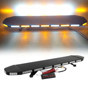46 Led Amber White Warn Traffic Adviser Signal Emergency Roof Strobe Light Bar