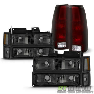 1994 1998 Chevy Silverado Smoked Headlights Corner Bumper Dark Red Tail Lights