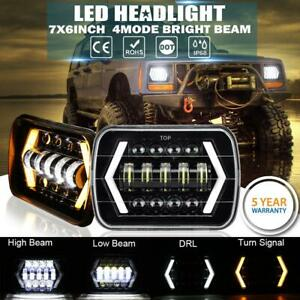 Pair 5x7 7x6 Led Headlight Halo Drl For 86 95 Jeep Wrangler Yj 84 01 Cherokee Xj