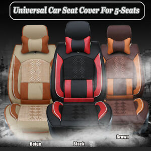 Universal Car Full Seat Cover For 5 seats Front Rear Leather Cushion W Pillow