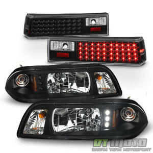 1 Piece 1987 1993 Ford Mustang Black Headlights W Led Black Led Tail Lights