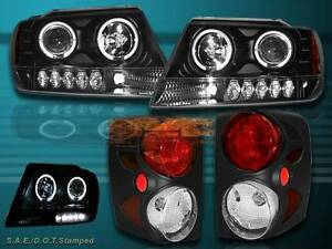 99 04 Jeep Grand Cherokee Halo Projector Black Headlights With Led Tail Lights