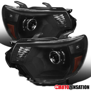 For 12 15 Toyota Tacoma Pickup Black Projector Headlights Front Lamps Pair