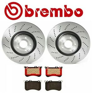 For Mercedes W218 Cls550 Two Front X drilled Disc Brake Rotors Pads Kit Brembo