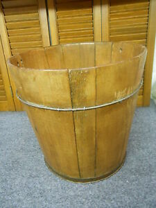 Antique Primitive Wood Staved Wire Pail Bucket