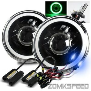 7 Round Blue Smd 3d Halo Black Housing Projector Headlights 10000k H4 2 Hid