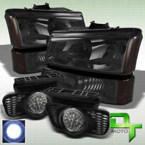 Smoked 2003 2006 Chevy Silverado Headlights Full Led Fog Lights Lamp Pair Set