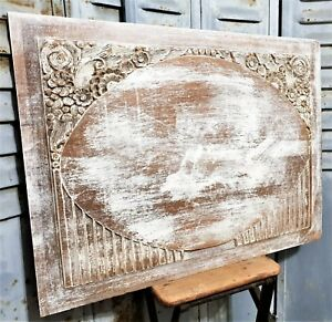 Shabby Painted Flower Art Deco Panel Antique French Wooden Architectural Salvage