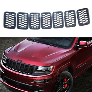For Jeep Grand Cherokee 2017 2018 Black Front Grille Trim Insert Grill Guard Abs