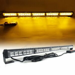 32 Led Strobe Light Bar Warning Emergency Beacon Signal Security Roof Amber 30w