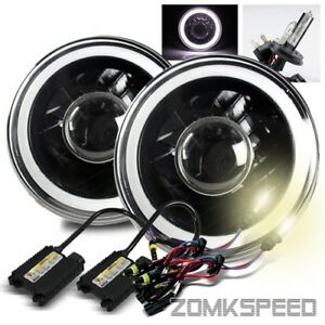 7 Inch Round Black Housing White Smd 3d Tube Projector Headlight 4300k H4 2 Hid