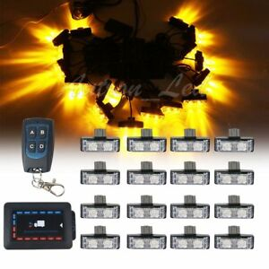 16in1 Led Amber Strobe Emergency Warn Deck Dash Grill Lights Remote Control Us